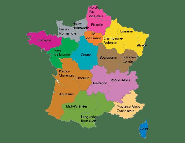 Carte des 13 régions